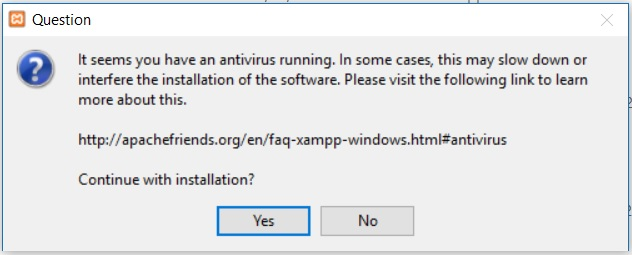 XAMPP installation on Windows - Anti Virus warning