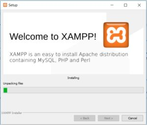 XAMPP installation on Windows - Installation in Progress