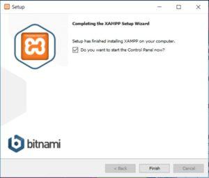 XAMPP installation on Windows - Setup Wizard - Installation Complete