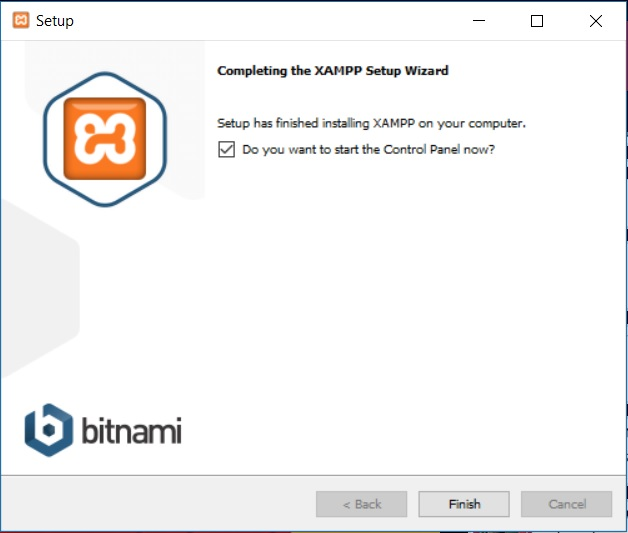 XAMPP installation on Windows - Setup Wizard - Installation Complete