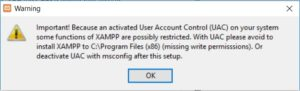 XAMPP installation on Windows - UAC Warning