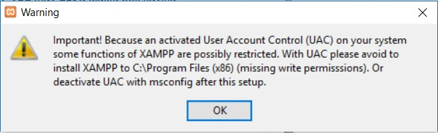 XAMPP installation on Windows - UAC Warning