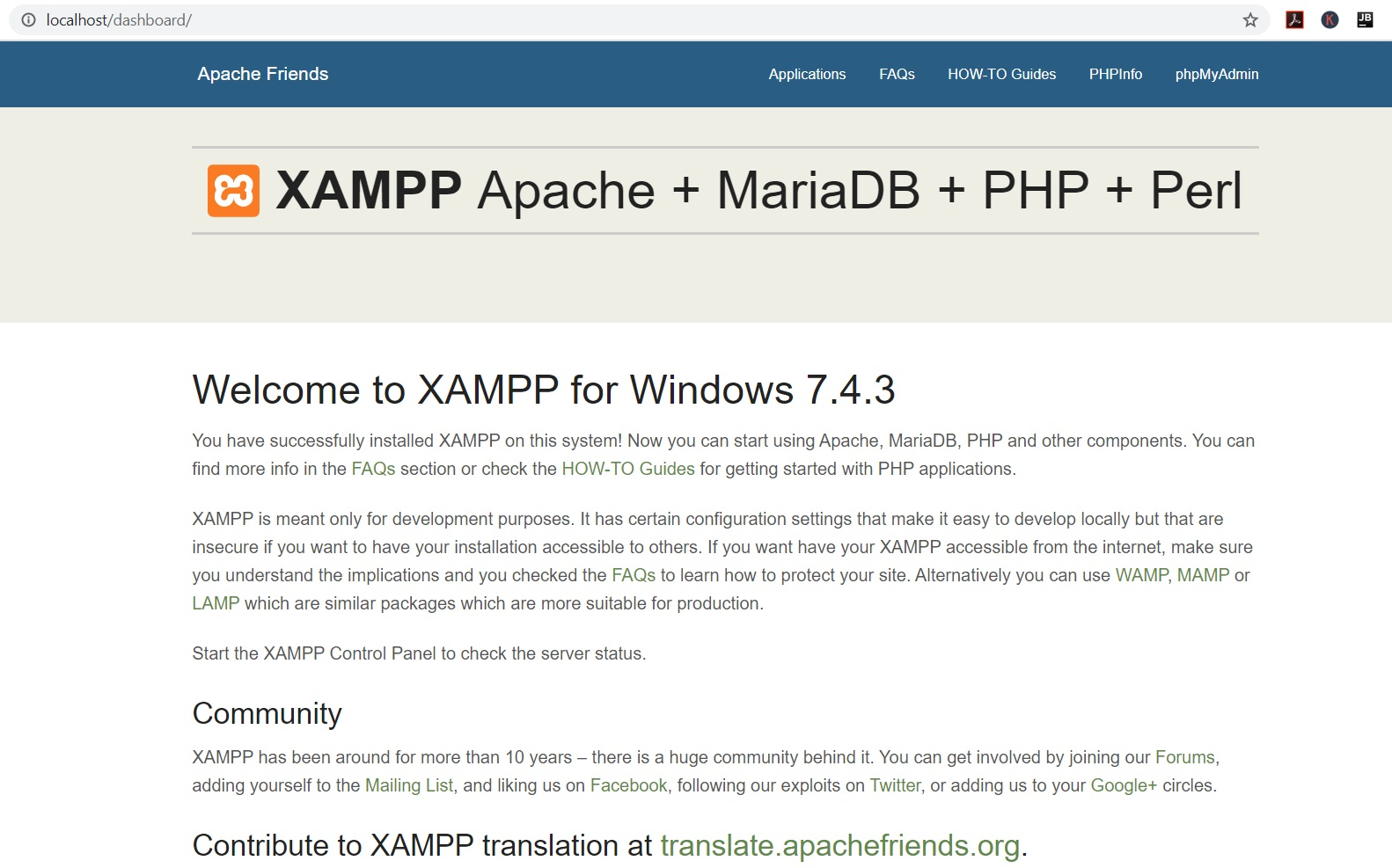 XAMPP localhost page in Browser