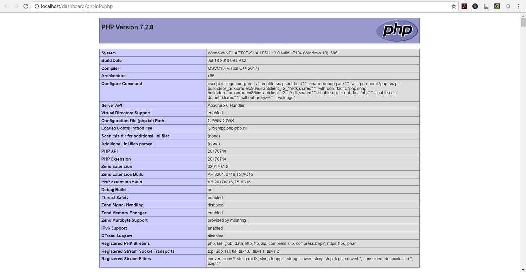 XAMPP PHPInfo webpage