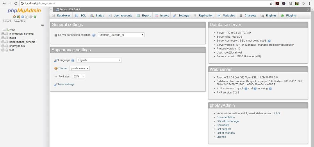 XAMPP phpMyAdmin webpage