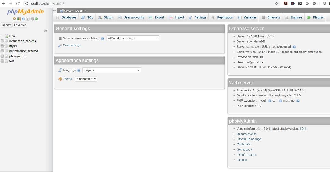 XAMPP phpMyAdmin web page