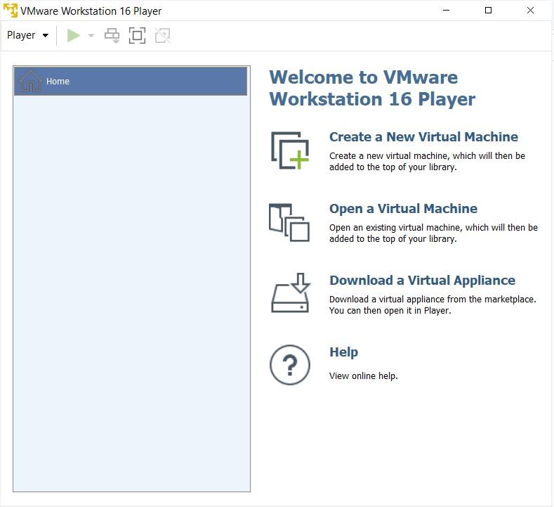 VMware Player 16 home screen
