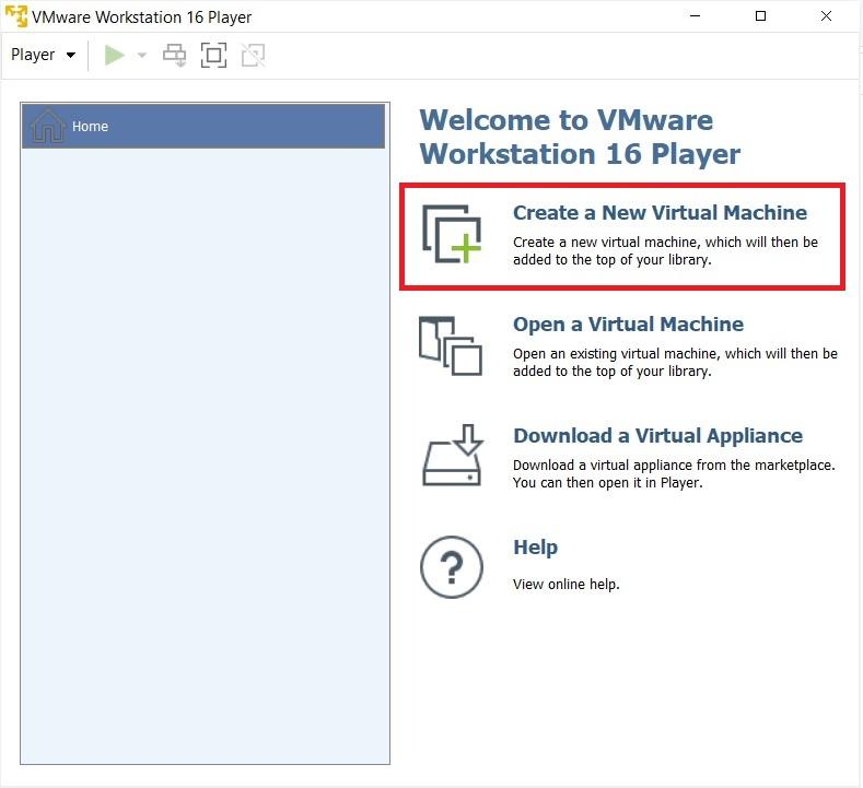 VMware Player 16 - Create new virtual machine