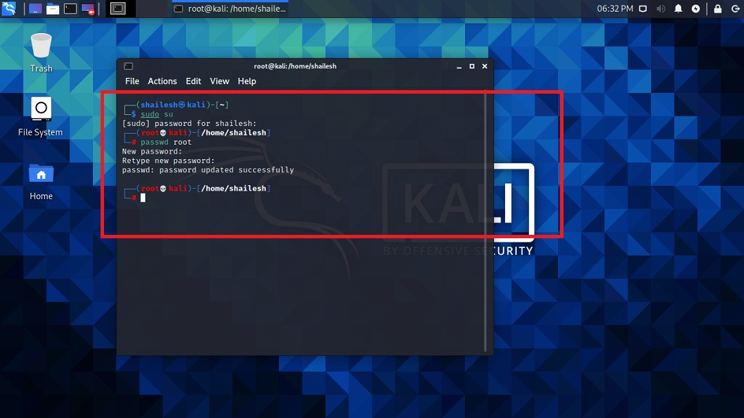 Kali Linux - change root password