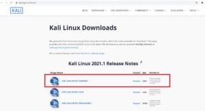 Kali Linux official download page