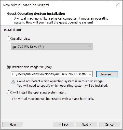 VMware Workstation Player 16 – Select Guest Operating System