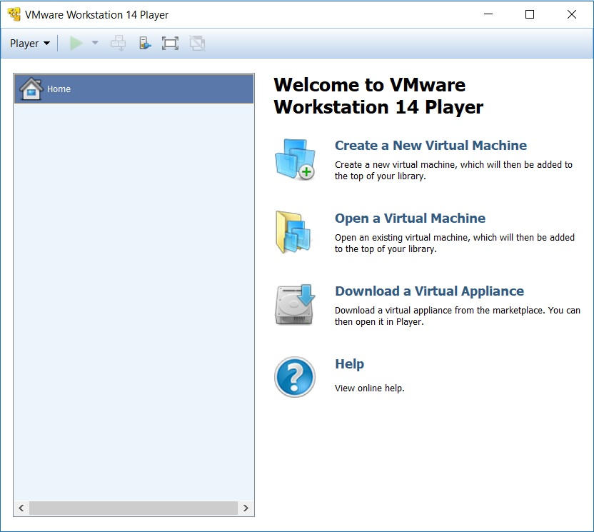 VMware Player 14 home screen