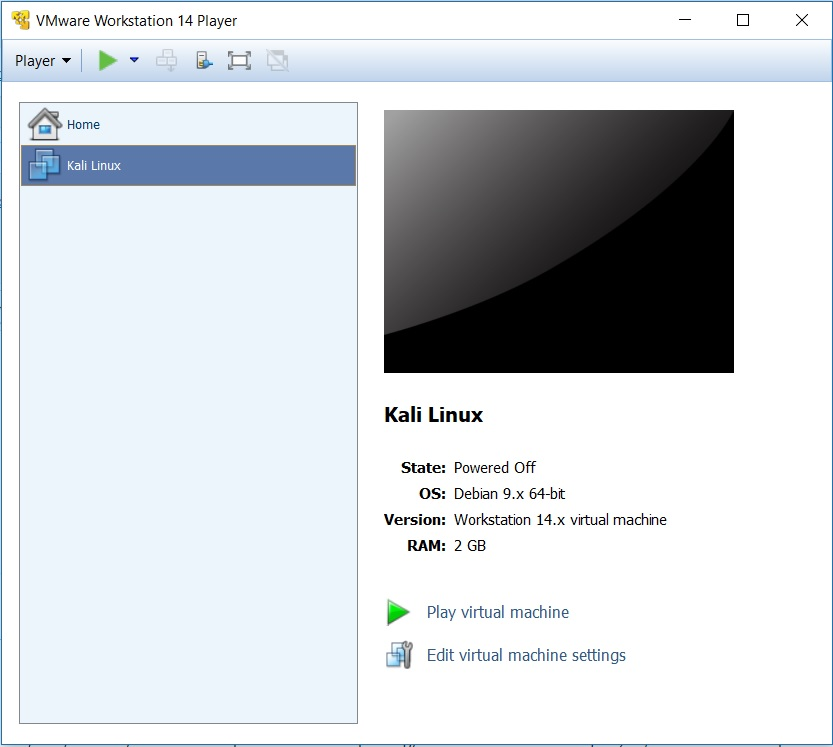 VMware Player 14 - Play Virtual machine