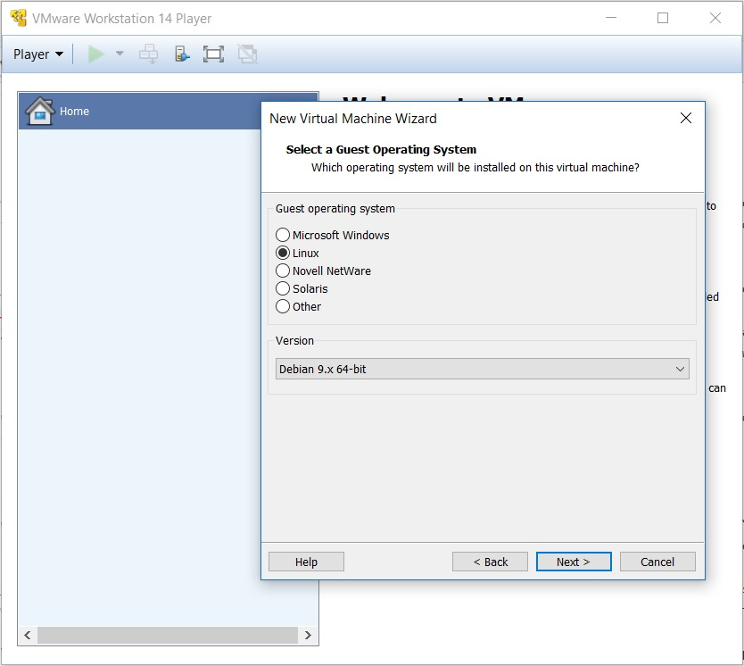 VMware Workstation Player 14 - Select Guest Operating System
