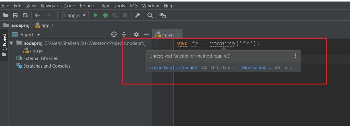 Jetbrains Webstorm - Node.js Unresolved Function or Method warning