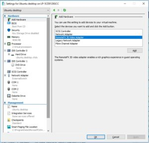 Hyper-V Settings - Add hardware
