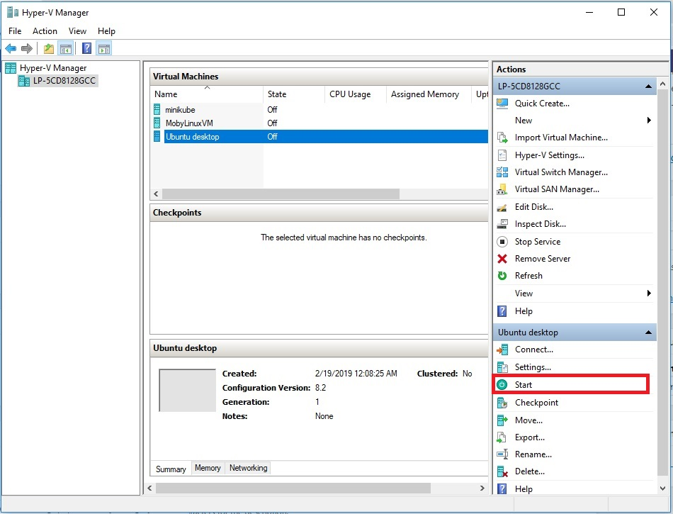 Hyper-V - Connect to Virtual Machine
