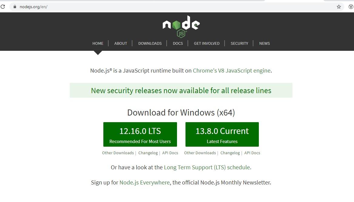 NodeJS Official Website