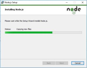 NodesJS installation progress window screenshot
