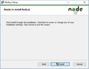 NodeJS Installation - ready to install window screenshot