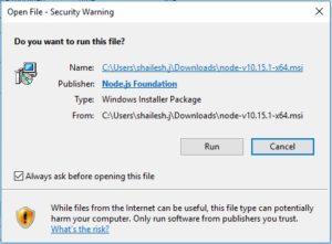 NodeJS windows installation - security warning screenshot