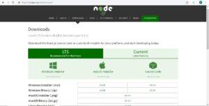 NodeJS official download web page screenshot