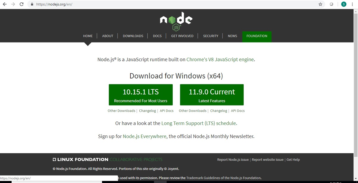 How to download and install Node js and NPM on Windows 10