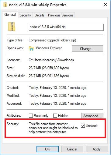 NodeJS zip file blocked