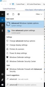 Windows 10 taskbar search - advanced settings