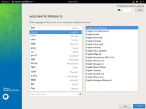 Fedora Workstation 29 Installation - Select Language