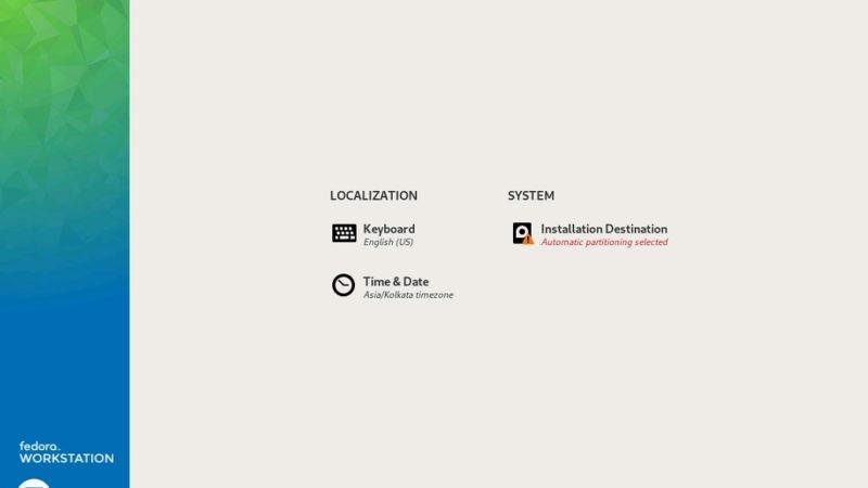 Fedora Workstation 29 – Installation Summary