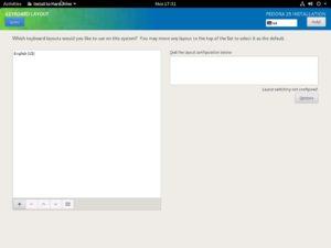 Fedora Workstation 29 - Installation summary - Keyboard Setup