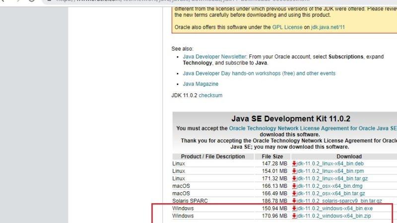 Java 11 JDK download page