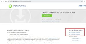 Fedora Workstation download webpage screenshot