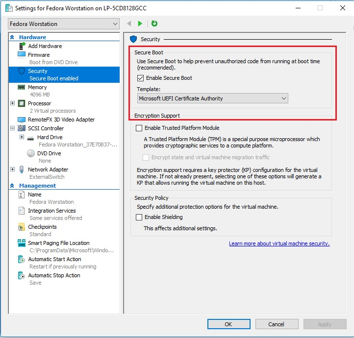 Hyper-V Settings - Secure Boot