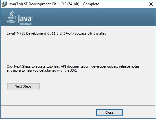 Java JDK 11 Installation Complete