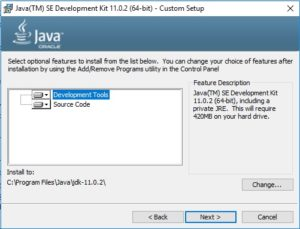 Java 11 JDK Installation Wizard - Custom Setup