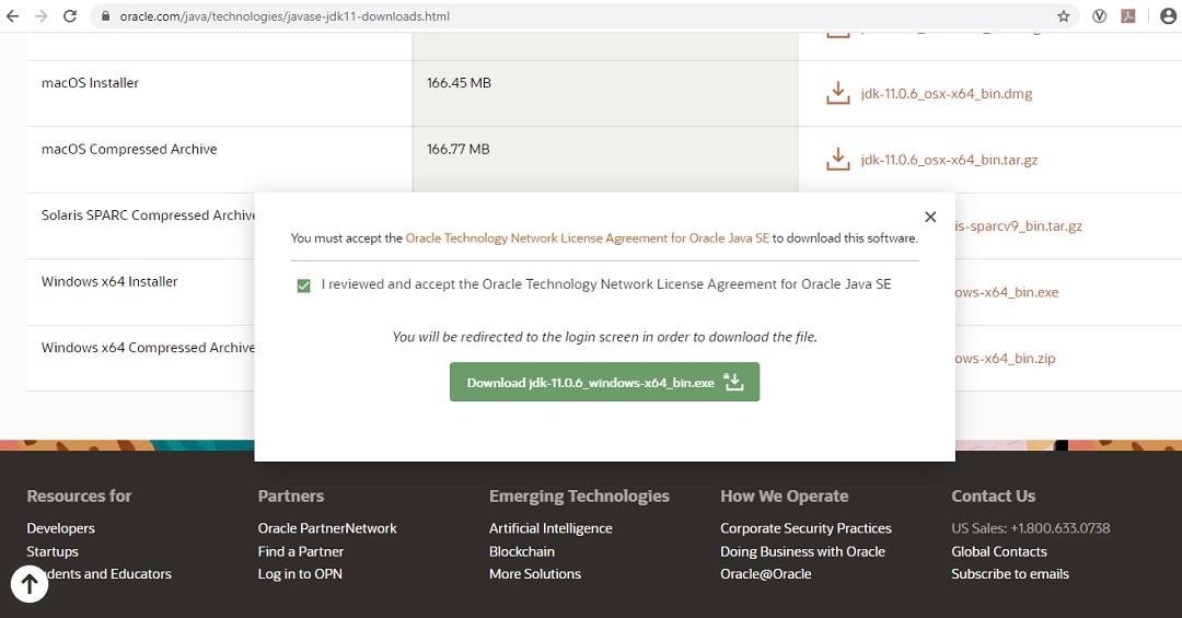 Java 11 SE Download - License Agreement