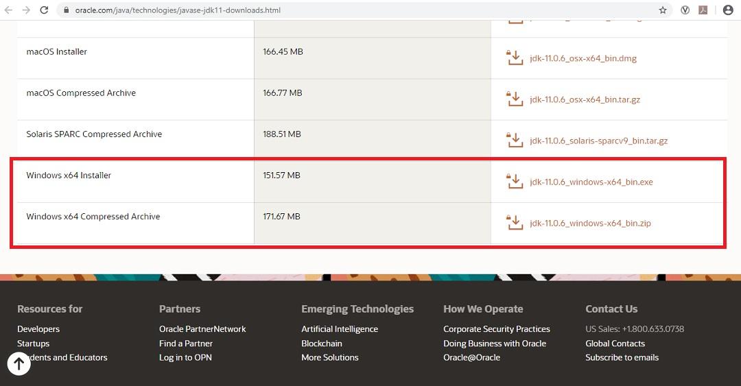 Java SE 11 Download Page