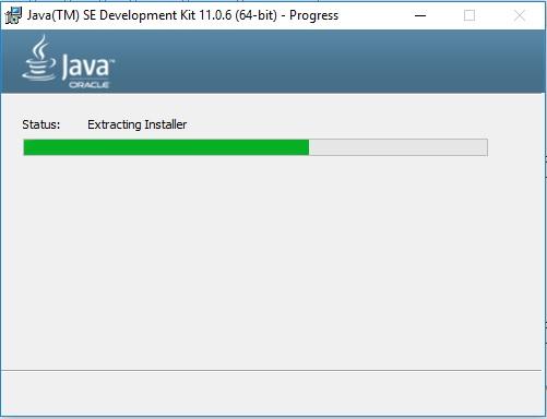 Java 11 JDK Installation progress