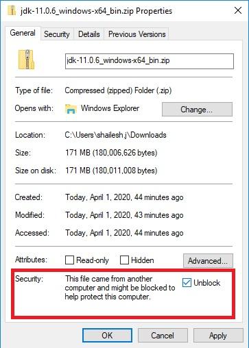 Java 11 JDK – Unblock Zip File