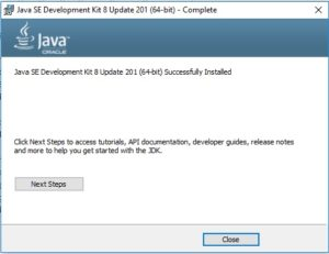 Java SE JDK 8 - Installation Complete