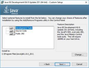 Java SE JDK 8 Installation Wizard - Custom Setup