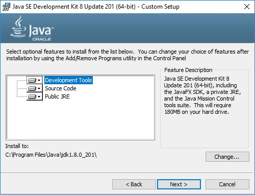 Java SE JDK 8 Installation Wizard - Custom Setup
