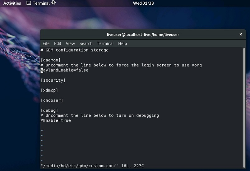 Fedora Workstation 29 - Terminal