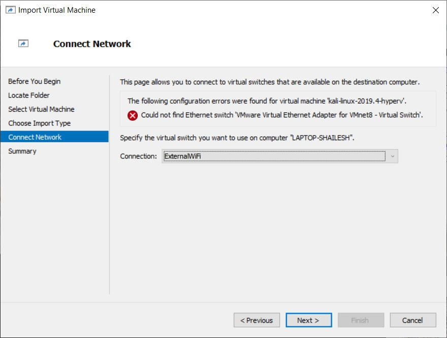 Hyper-V - Import Virtual Machine Wizard - Network Connection