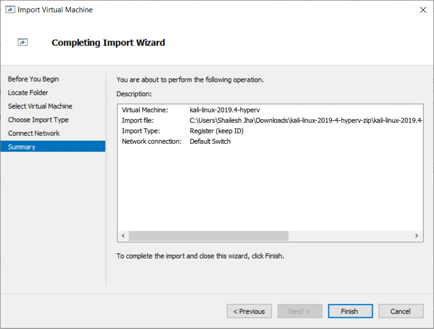 Hyper-V - Import Virtual Machine Wizard - Virtual Machine Summary