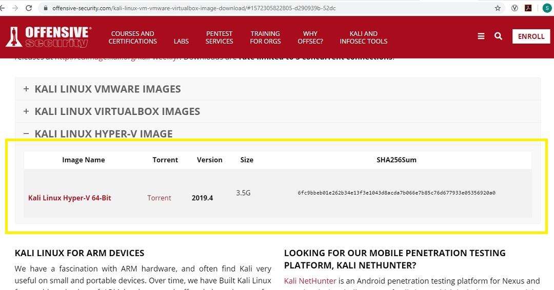 Hyper-V Kali Linux Image - Official download page