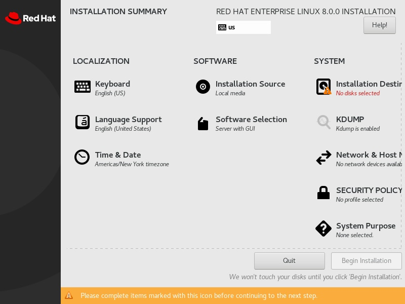 Red Hat Enterprise Linux 8 - Installation summary