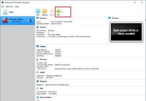 VirtualBox Manager - Kali Linux
